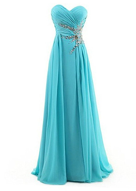 A-Line Sweetheart Chiffon Pleats Beading Bridesmaid Dress