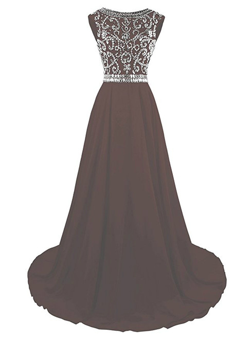 A-Line Chiffon Backless Cap Sleeve Prom Dress With Beading
