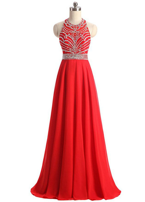A-Line Halter Backless Chiffon Beading Sequins Prom Dress