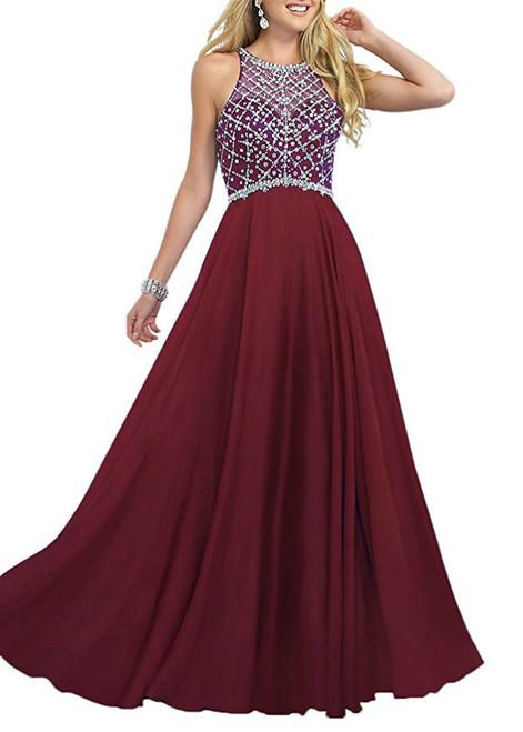 A-Line Sleeveless Floor Length Chiffon Beading Prom Dress