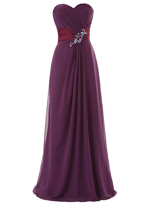 A-Line Sweetheart Pleats Bridesmaid Dress With Crystal
