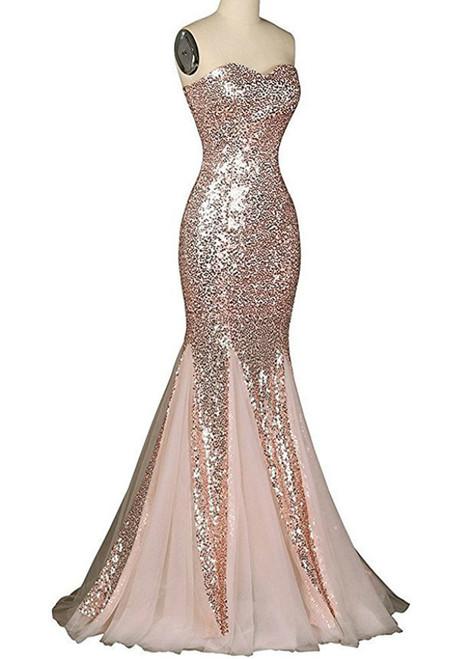 Mermaid Sweetheart Sequins Tulle Floor Length Prom Dress