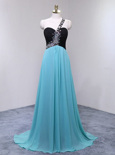 Long Chiffon Featuring Sweetheart Neckline One Shoulder Prom Dress