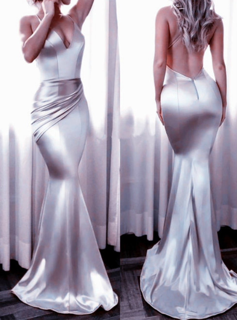 Mermaid Silver Satin Halter Backless Floor Length Prom Dress