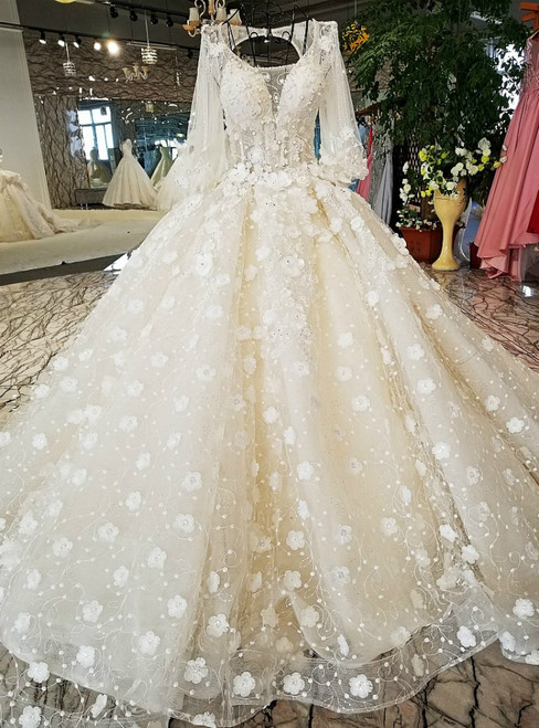 White Ball Gown Long Sleeve Backless Tulle Appliques Wedding Dress