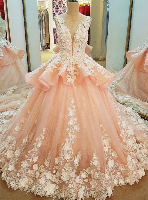 Luxury Pink Ball Gown Tulle Appliques Long Train Wedding Dress
