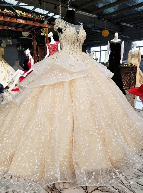 Luxury Champagne Ball Gown Tulle Appliques Wedding Dress