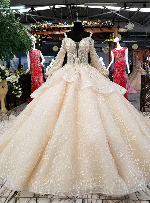 Luxury Champagne Ball Gown Long Sleeve Tulle Appliques Wedding Dress
