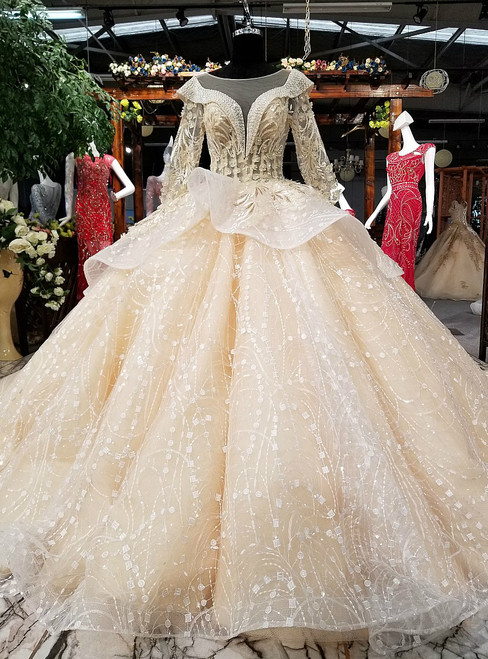 Luxury Ball Gown Long Sleeve Backless Tulle Appliques Wedding Dress