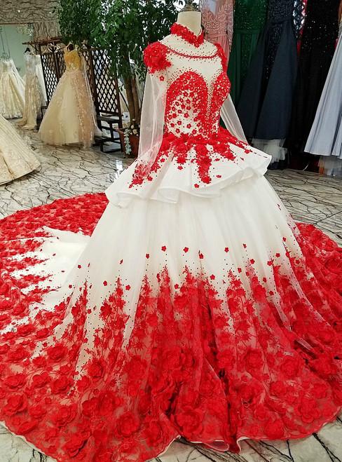 White Long Sleeve Tulle Appliques High Neck Long Train Wedding Dress