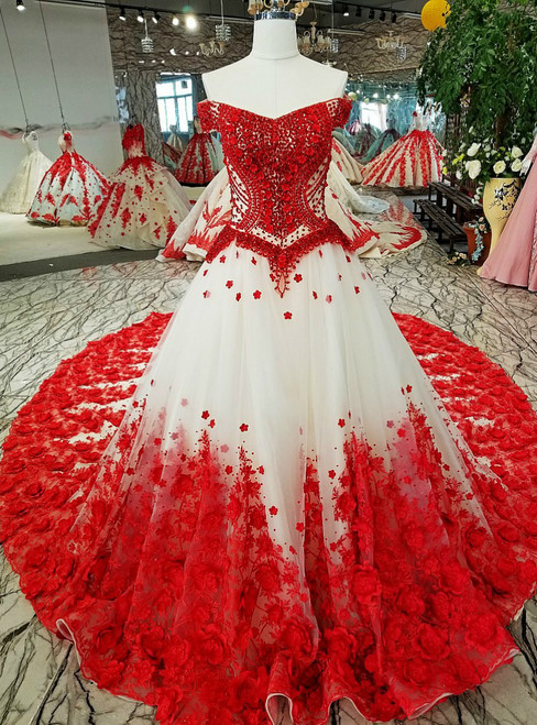 Luxury Ball Gown Tulle Flower Off The Shoulder Wedding Dress