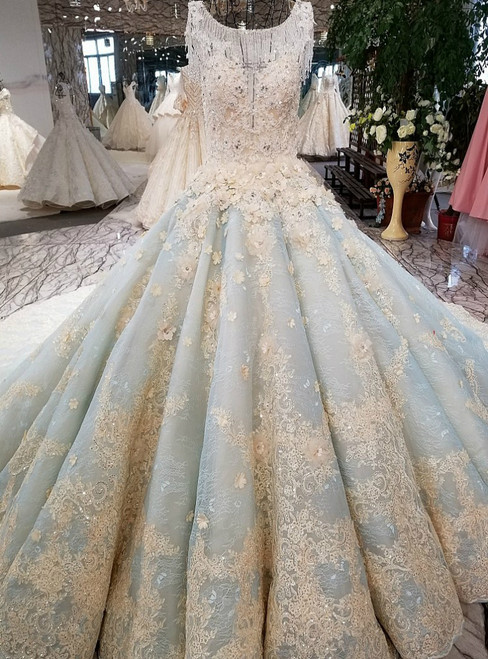 Blue Ball Gown Backless Long Train Tulle Beading Appliques Wedding Dress