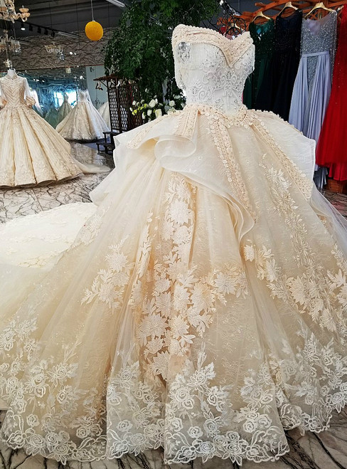 Ball Gown Champagne Off The Shoulder Long Train Wedding Dress