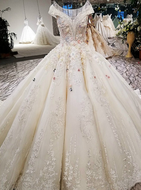 Luxury Ball Gown Champagne Off The Shoulder Long Train Wedding Dress