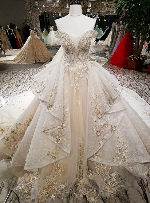 Luxury Ball Gown Off The Shoulder Tulle Appliques Beading Wedding Dress