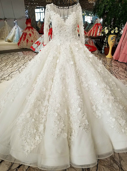 Luxury Ball Gown White Tulle Appliques Beading Long Sleeve Wedding Dresses