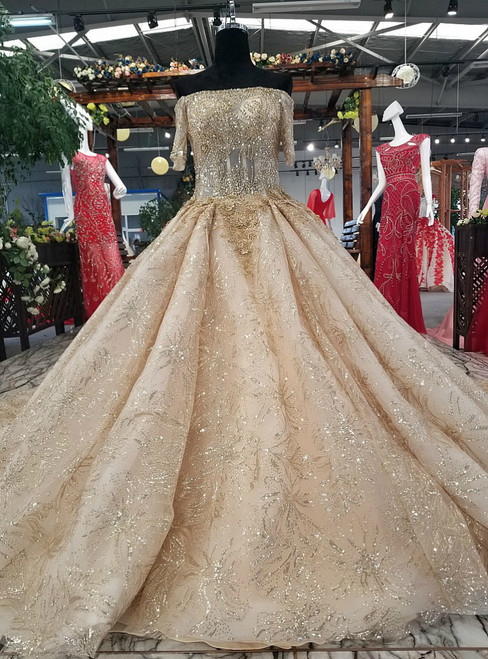 Luxury Gold Ball Gown Short Sleeve Sequins Tulle Haute Couture Wedding Dresses