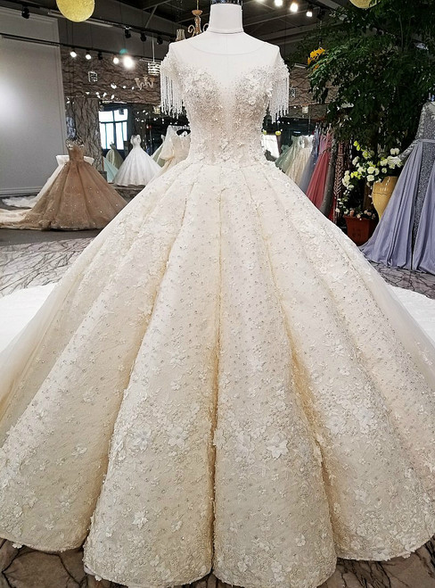Luxury Ball Gown Cap Sleeve Backless Tulle Beading Haute Couture Wedding Dresses