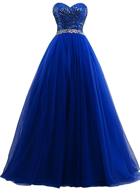 A-Line Sweetheart Tulle Sequins Prom Dress With Beading