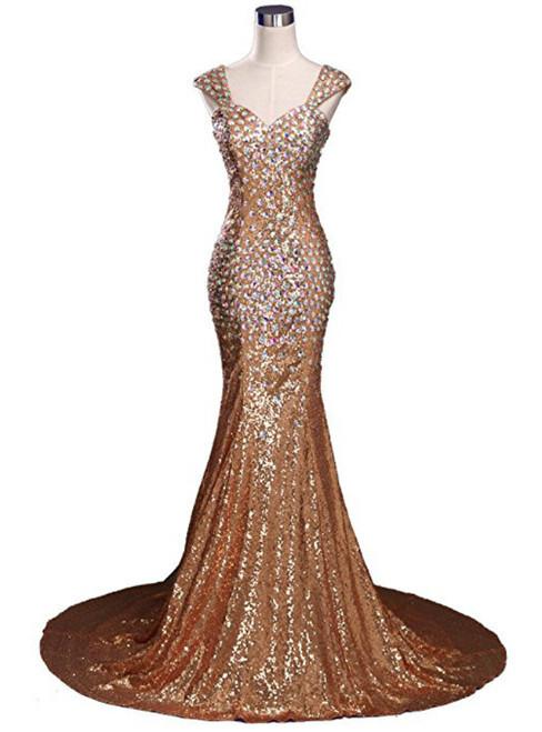 Sexy Mermaid V-neck Sequins Crystal Floor Length Prom Dress