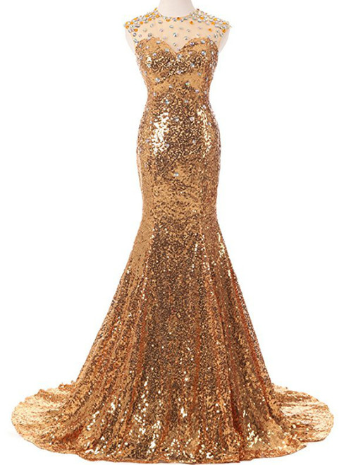 Sexy Gold Mermaid Sequins With Crystal Prom Dress