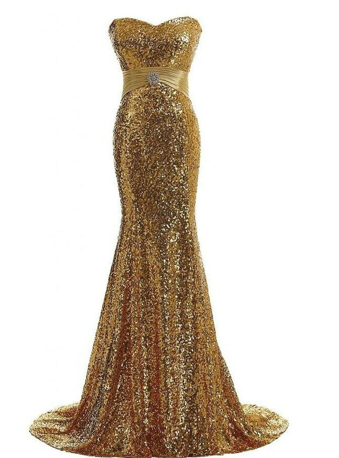 Mermaid Sequins Sweetheart Sleeveless Prom Dress