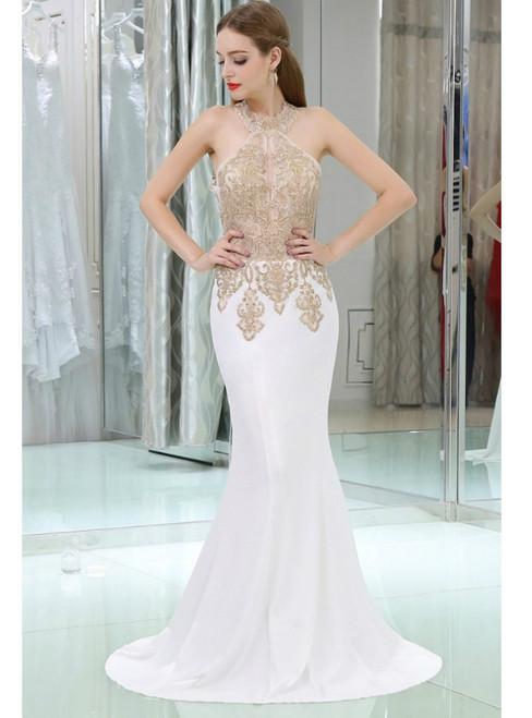 057c9c56bd2d4 Mermaid Long Halter Chiffon With Gold Applique Lace Prom Dress
