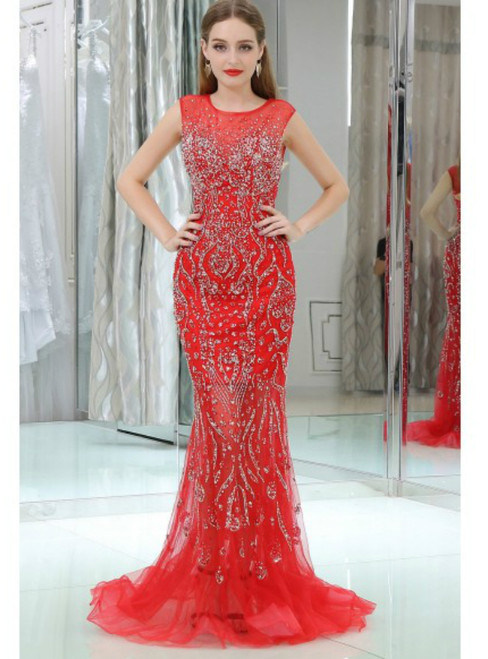 Mermaid Sparkly Beading Tulle Red Backless Prom Dress With Sequins