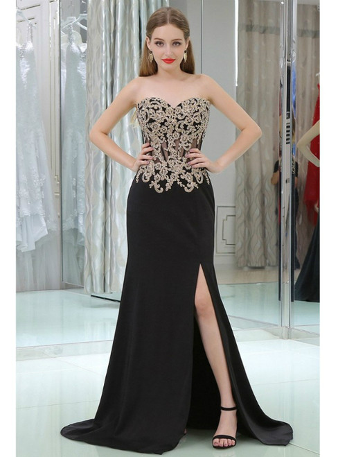 Black Sweetheart Applique Lace See Through Prom Dress