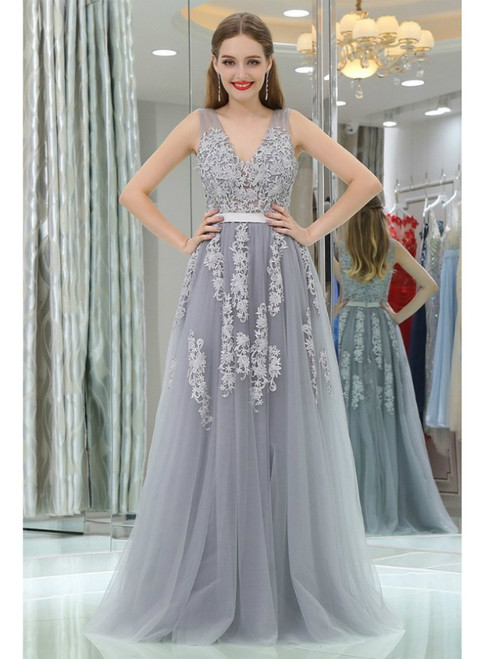 Gray V-neck Tulle Lace Floor Length Prom Dress