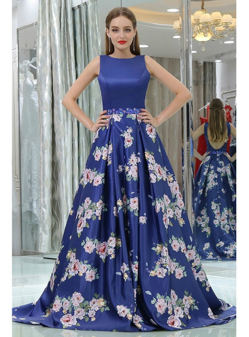 Royal Blue Floral Printed Satin Backless Prom Dress