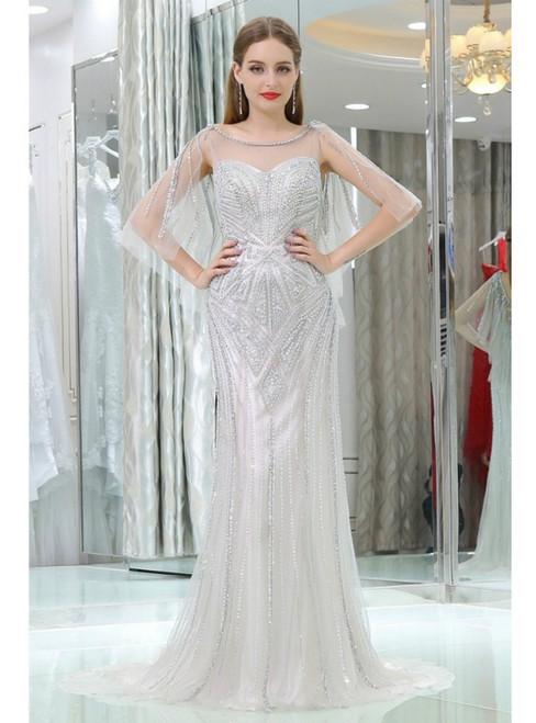 Gray Tulle Long Slim Beading Sequins Prom Dress