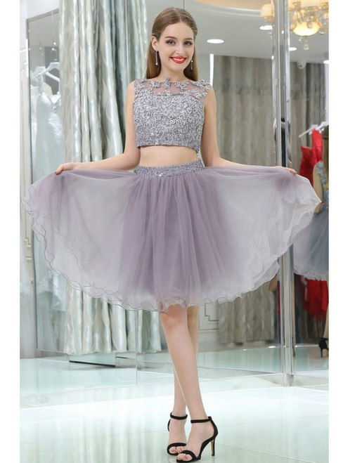 2 Piece Gray Tulle Short Suit Skirt With Lace Homecoming Dress