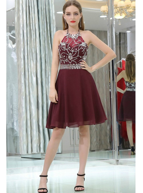Halter Burgundy Backless Chiffon Beading Homecoming Dress