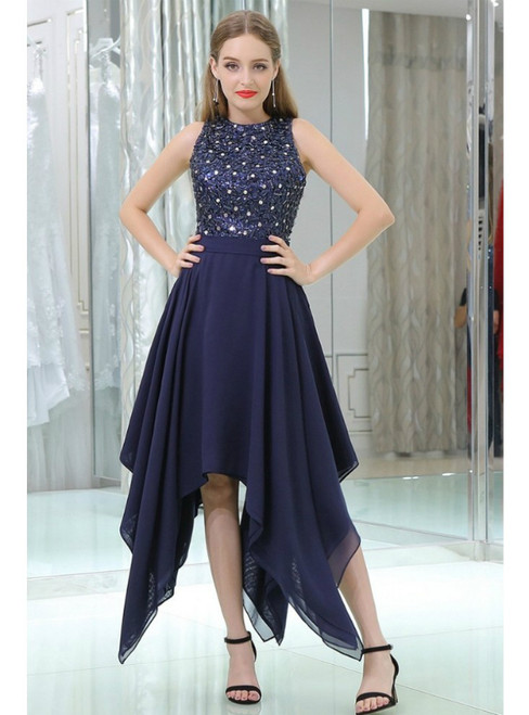 Navy Blue High Low Chiffon Prom Dress With Beaded Lace Bodice
