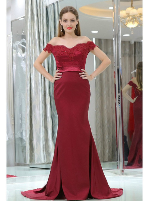 Mermaid Style Off Shoulder Burgundy Lace Satin Prom Dress