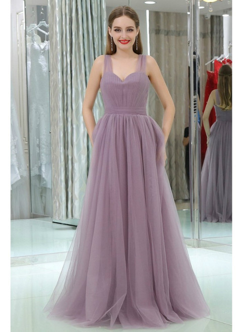 Long Tulle  Sweetheart Lavender Sleeveless Prom Dress