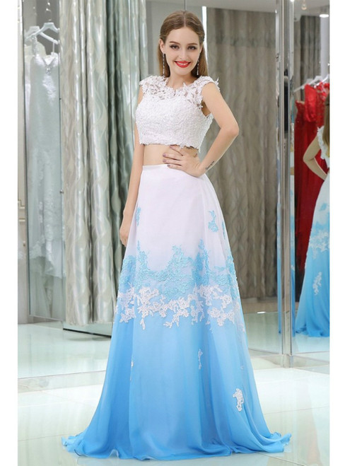 Two Pieces Lace Beaded Chiffon White And Blue Prom Dress