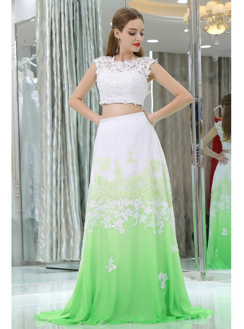 Two Pieces Long Lace Chiffon White And Green Prom Dress