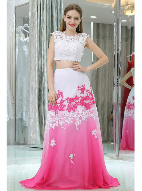Two Pieces Lace White And Fuchsia Chiffon Prom Dresses