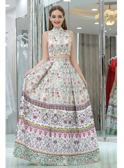 Two Piece High Neck Floral Printed Satin Prom Dress