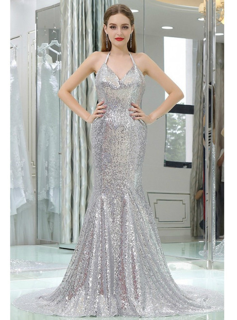 Sparkly Silver Sexy Sequined Mermaid Halter Backless Prom Dress