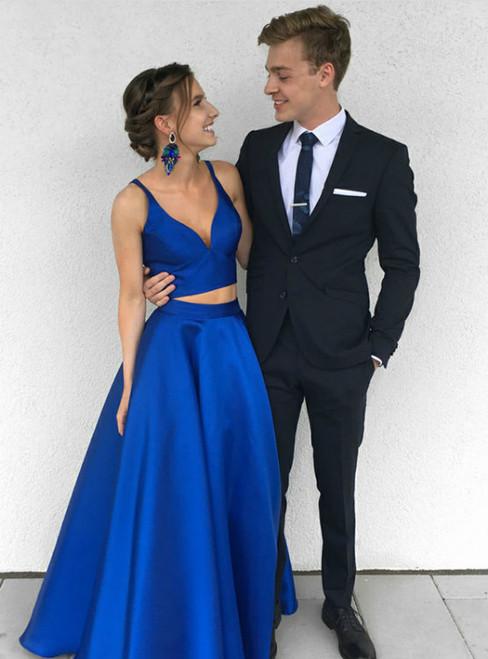 Royal Blue Satin Two Piece Floor Length Prom Dress
