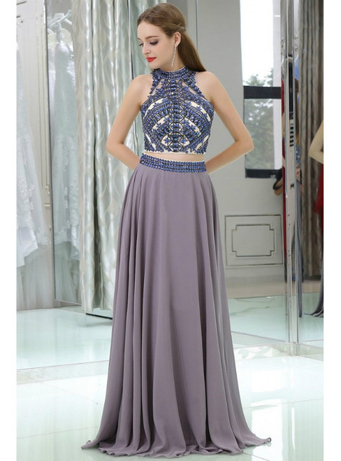 Long Chiffon Sexy Two  Piece Backless With Crystals Prom Dress