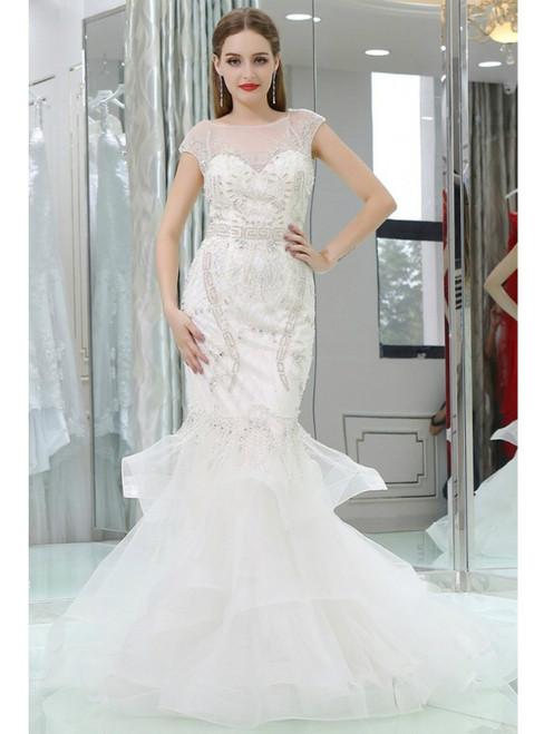 White Mermaid Beaded Tulle Prom Dress With Sheer Back