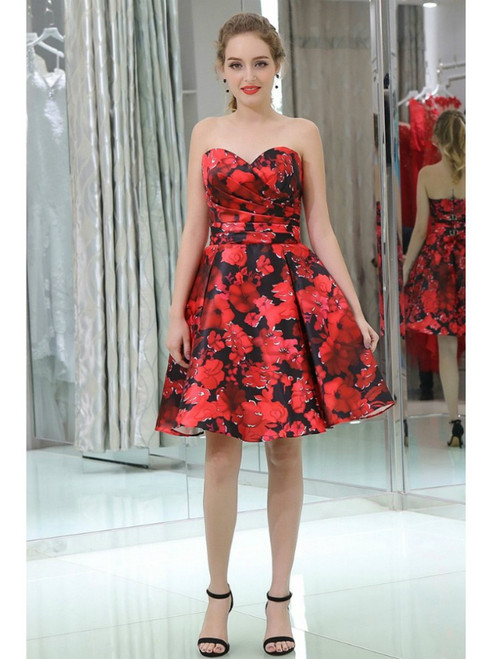 Sweetheart Red Print Satin Knee Length Homecoming Dress
