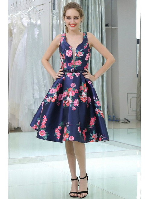 Straps Short Blue Floral Print Beaded Backless Homecoming Dress