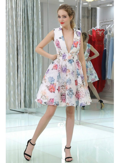 White Printed Floral Colorful Deep V Knee Length Homecoming Dress
