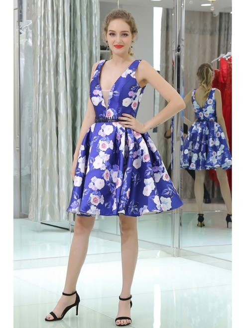 Printed Floral Short Beaded Homecoming Dress With Deep V Neck