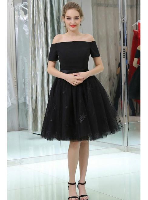 Little Black Short Lace Tulle Satin Off The Shoulder Homecoming Dress